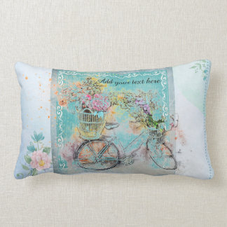 Bicycle with flower baskets on blue burlap lumbar pillow