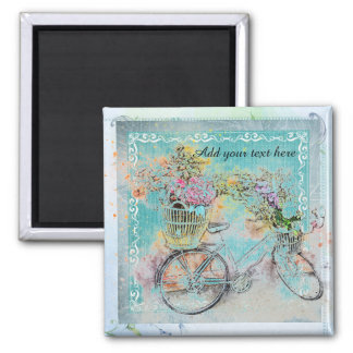 Bicycle with flower baskets on blue burlap magnet
