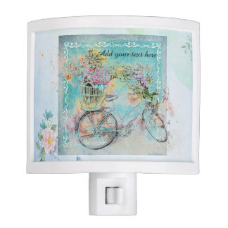 Bicycle with flower baskets on blue burlap nite lite