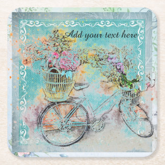 Bicycle with flower baskets on blue burlap square paper coaster
