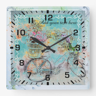 Bicycle with flower baskets on blue burlap square wall clock