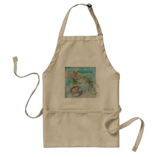 Bicycle with flower baskets on blue burlap standard apron