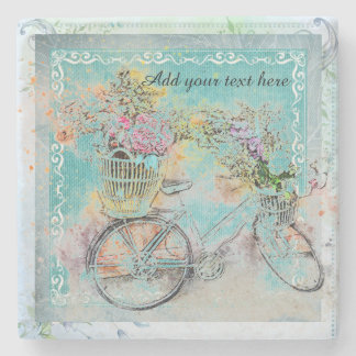 Bicycle with flower baskets on blue burlap stone coaster