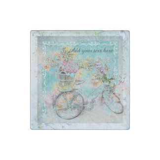 Bicycle with flower baskets on blue burlap stone magnets