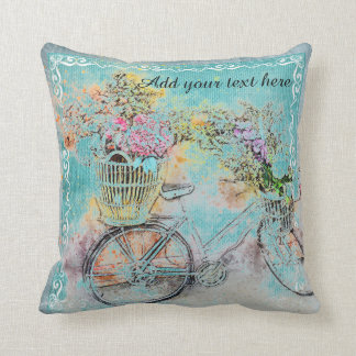 Bicycle with flower baskets on blue burlap throw pillow