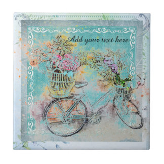 Bicycle with flower baskets on blue burlap tile