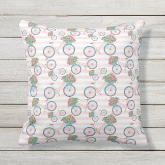 Bicycle with Flowers Painting Outdoor Pillow
