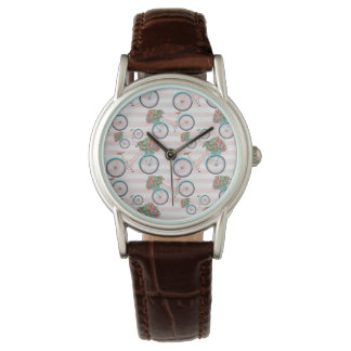 Bicycle with Flowers Painting Watch