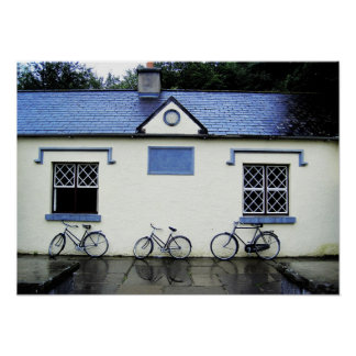 Bicycles by lattice windows, County Clare, Ireland Poster
