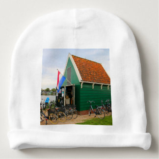 Bicycles, Dutch windmill village, Holland Baby Beanie