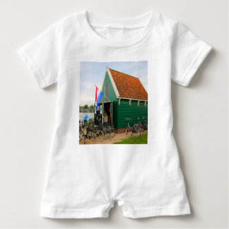 Bicycles, Dutch windmill village, Holland Baby Romper