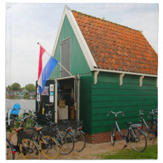 Bicycles, Dutch windmill village, Holland Napkin