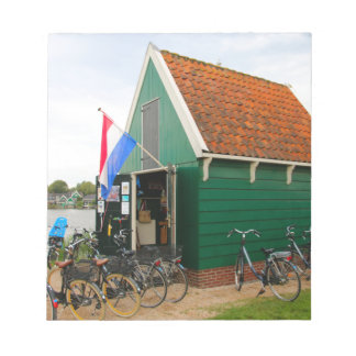 Bicycles, Dutch windmill village, Holland Notepad