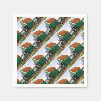 Bicycles, Dutch windmill village, Holland Paper Napkin