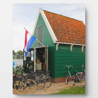 Bicycles, Dutch windmill village, Holland Plaque