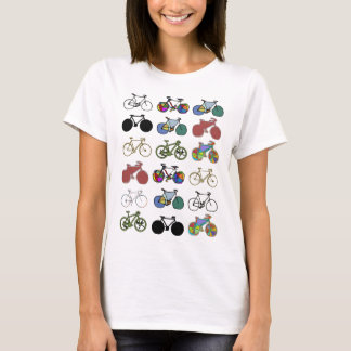 bicycles pattern stamp T-Shirt