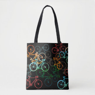 bicycles tote bag . colored bikes on black