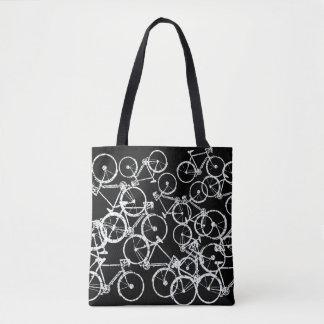 bicycles tote bag . white bikes on black