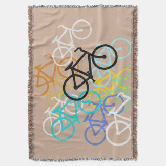 Bicycles.. with your own background color throw blanket