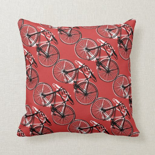 Bicycles/You choose background color Pillows