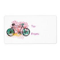 Bicyclette et arrière - plan floral étiquettes