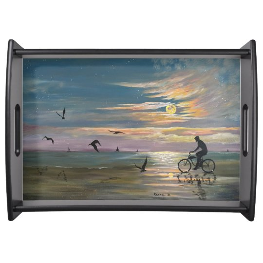 Bicycling on the beach serving tray