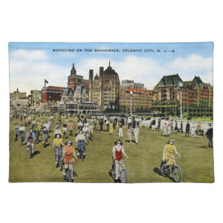 Bicycling on the Boardwalk, Atlantic City Vintage Placemats