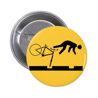 Bicycling on the Tracks - Road Sign 2 Inch Round Button
