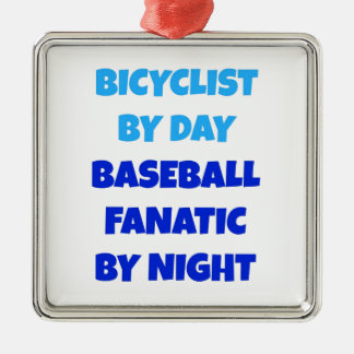 Bicyclist Baseball Fanatic Metal Ornament