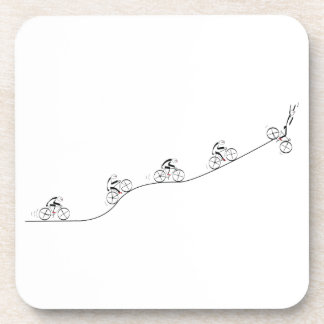 Bicyclist going over the hill drink coasters