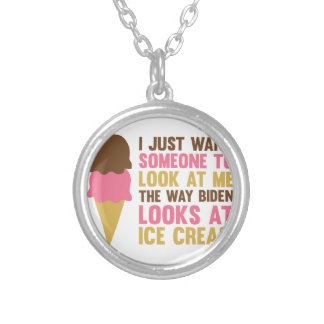 Bidens Ice Cream Silver Plated Necklace