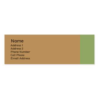 biege bronzage avec la plaine verte carte de visite petit format