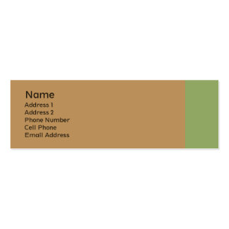 biege tan with green plain pack of skinny business cards