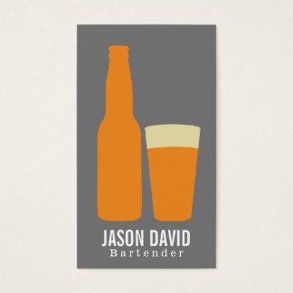 Bière et verre (oranges) cartes de visite