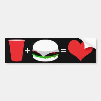 bière + hamburger = amour autocollant de voiture