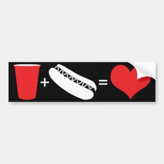 bière + hot-dogs = amour autocollant de voiture