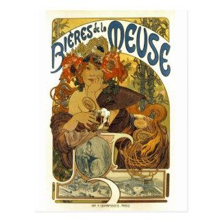 Bieres de la meuse vintage french poster art postcard