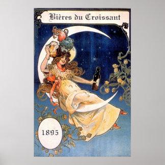 Bieres du Croissant 1895 Vintage Print