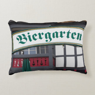 Biergarten sign, Germany Decorative Pillow