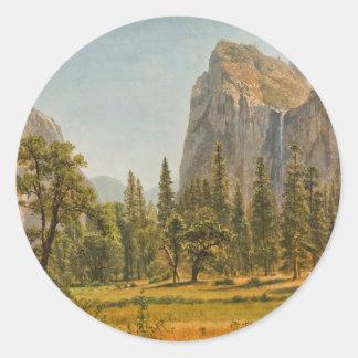 Bierstadt Bridal Veil Falls, Yosemite Valley Round Sticker
