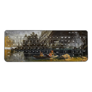 Bierstadt Mountains Lake Indians Fishing Keyboard