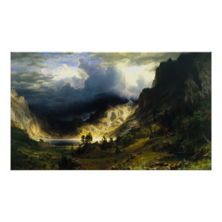 Bierstadt Storm in the Rocky Mountains Poster