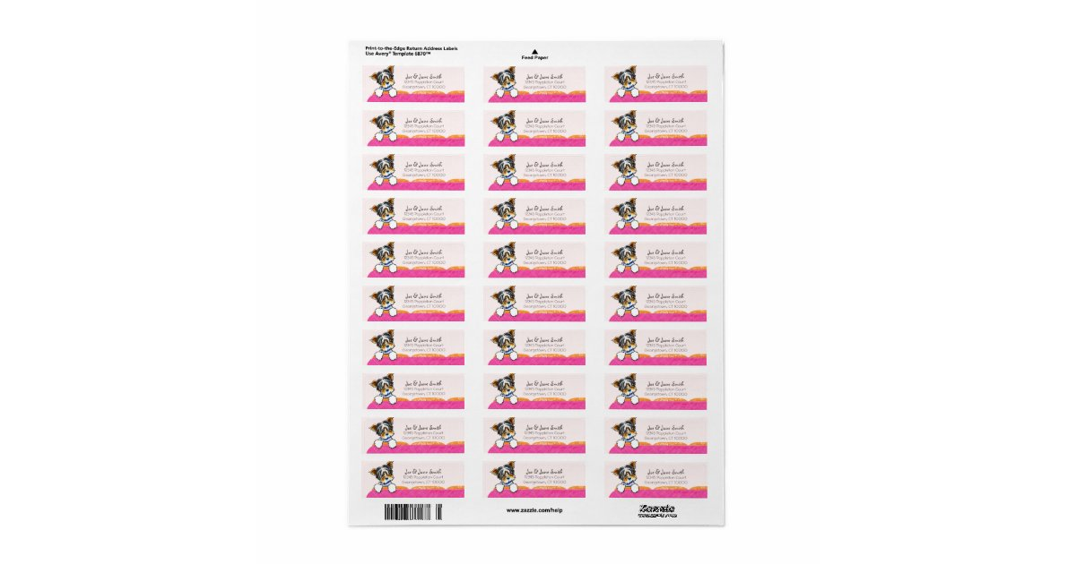 avery 6870 template - biewer yorkie pink couch custom pet name return address