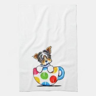 Biewer Yorkie Polka Dot Cup Kitchen Towel
