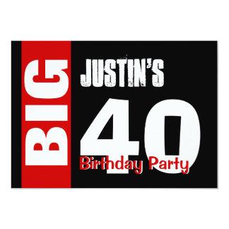 Big 40 Birthday Modern Red White Black B394 Card