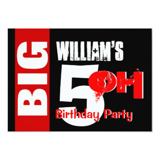 Big 50 Birthday Modern Red White Black W1732 Card