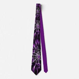 Big alien flowers tie black /white on purple