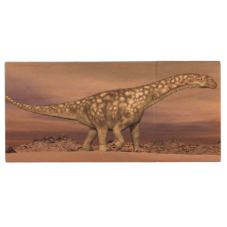 Big argentinosaurus dinosaur walking quietly in th wood USB flash drive