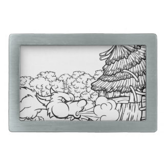 Big Bad Wolf Blowing Down House Three Little Pigs Belt Buckle