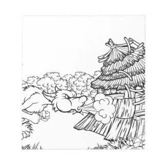 Big Bad Wolf Blowing Down House Three Little Pigs Notepad